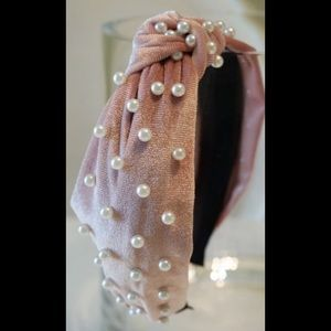 Pink Faux Pearl Velvet Knotted Headband